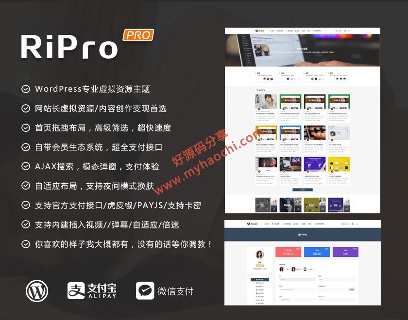 wordpress RiPro主题最新破解版去授权无限制版【更新v8.6 无限制版】